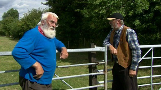 Two men leaning on gates