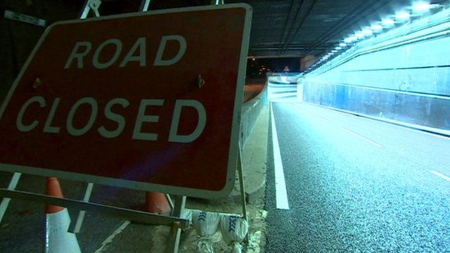 Road sign in the A38 tunnel
