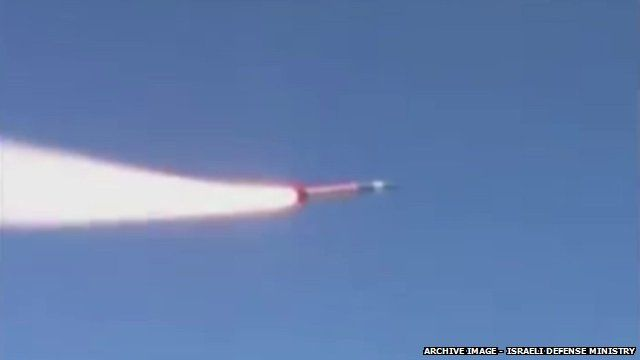 "Still from Israeli Defence Ministry archive footage of the launching of a ""Sparrow"" target missile"