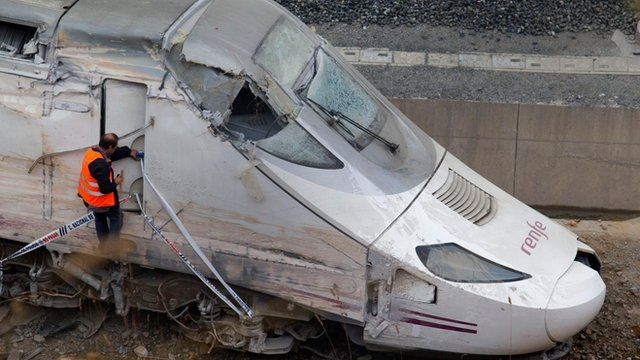 Wrecked train at Santiago de Compostela, Spain