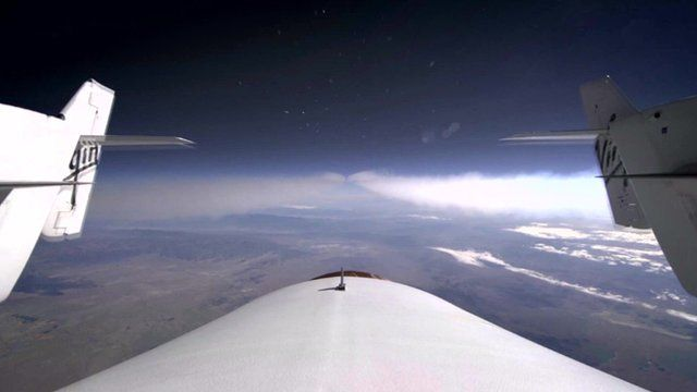 The view looking back from the Virgin Galactic space plane