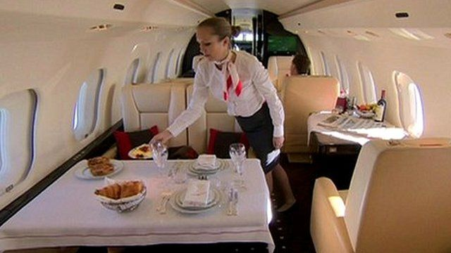 Cabin crew in private jet
