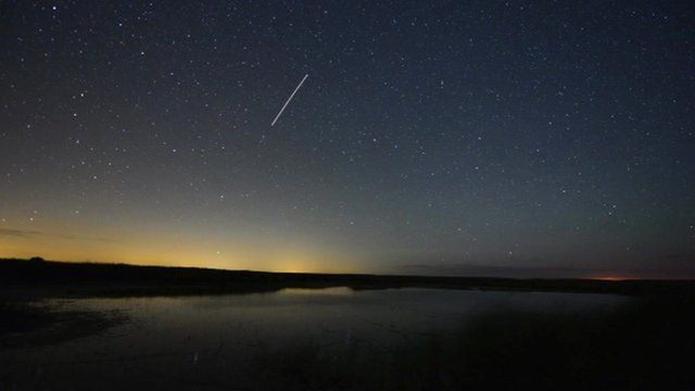 Perseid meteor shower at Cley Marsh, Norfolk