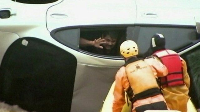 A man was rescued during floods in Colorado