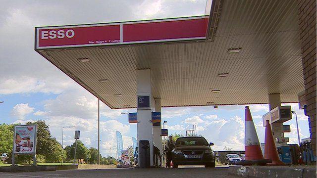 A petrol station forecourt