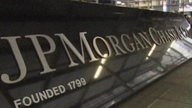 A sign reading JP Morgan Chase & Co
