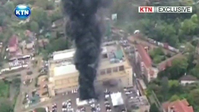Smoke billowing from the Westgate mall in Nairobi