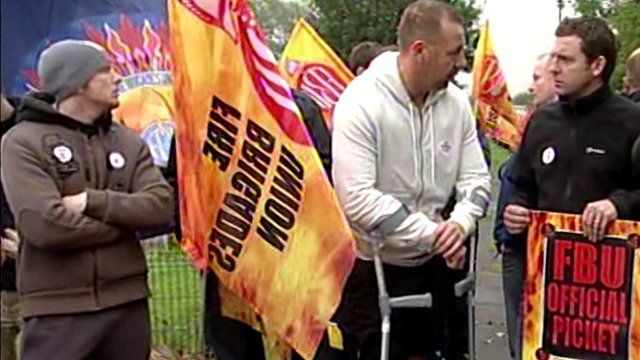 Firefighters picketing in Middlesbrough
