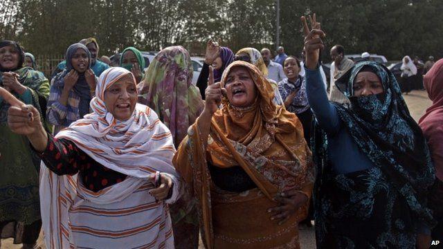 Mourners in Khartoum