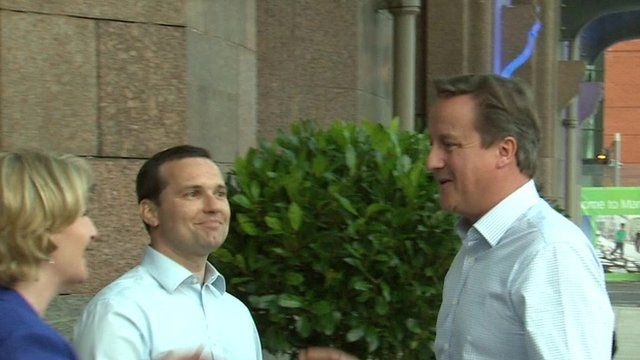 David Cameron arriving in Manchester