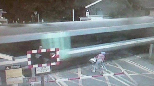 Near miss with train at Waterbeach station in Cambridgeshire