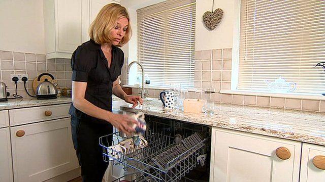 Julie Reinger with dishwasher