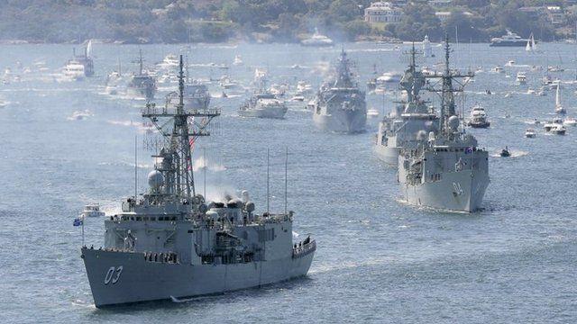 Royal Australian Navy warships enter Sydney Harbour