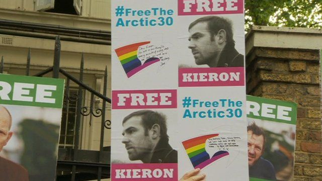Free the Arctic 30 Greenpeace protest, London, 5 October 13