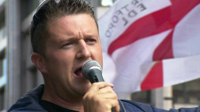 Tommy Robinson at a rally