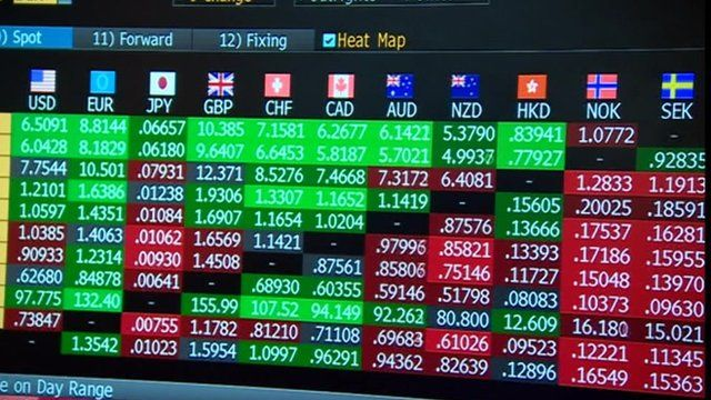 Financial figures on computer screen