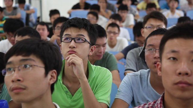 Male students sit in class at the China Mining and Technology University in China's eastern Jiangsu province