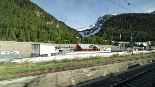 View from German train carriage window