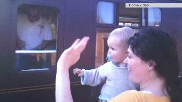 Rachael Slack and her son Auden in a home video