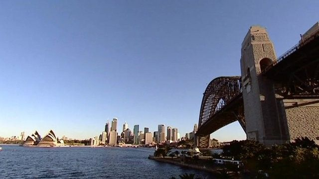 A view of Sydney from a bridge
