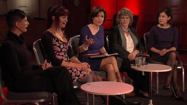 English director of porn films Anna Span, transgender broadcaster Paris Lees, the BBC's Jane Hill, journalist Ann Leslie and British feminist Natasha Walter