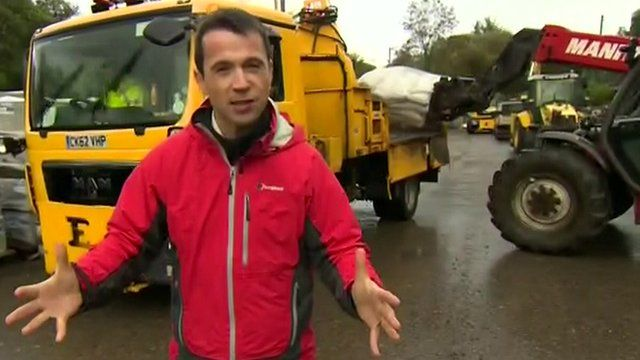 Hywel Griffith at a council depot where sandbags are being loaded onto lorries