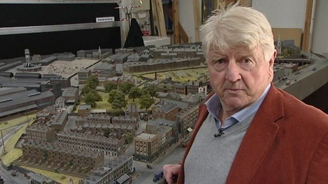 Stanley Johnson with model railway