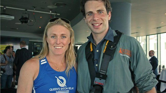 Athlete Sally Pearson with Mark Beaumont