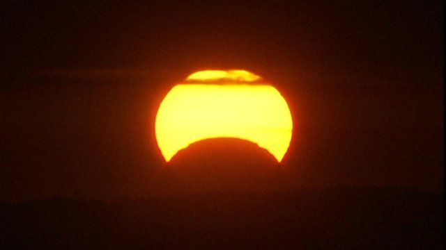 A solar eclipse as seen from Washington DC