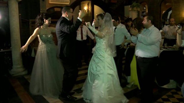 People dancing at a wedding party