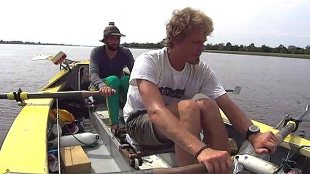 Antony Wright and Mark de Rond rowing the Amazon
