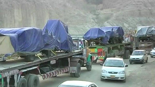 Convoy of trucks loaded with supplies for Nato's Afghan mission