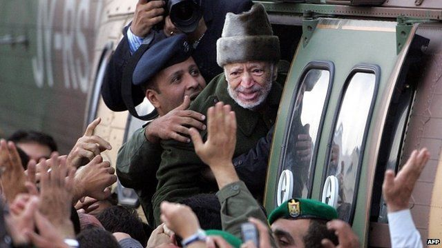 Yasser Arafat boards a helicopter after falling ill in October 2004