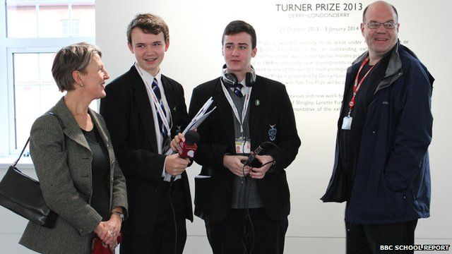 (left to right) Tate Britain Director, Penelope Curtis, School Reporters Eoghan and David, Mark Lawson of BBC Radio Four's Front Row