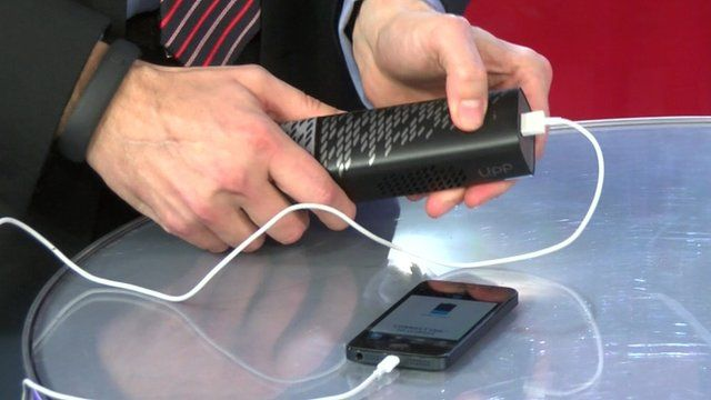 Upp used to charge a mobile phone