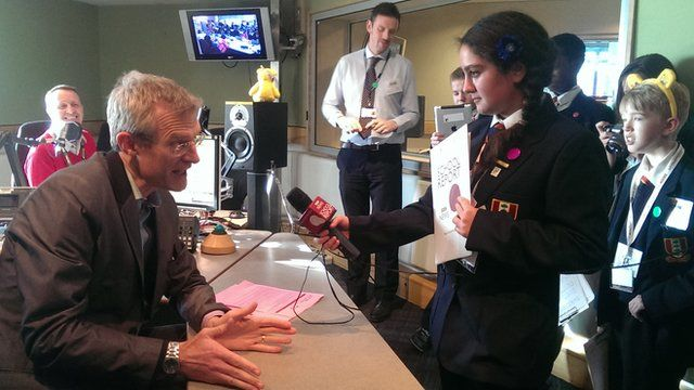 Jeremy Vine being interviewed by BBC School Reporters from Northwood School