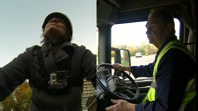Cyclist and lorry driver