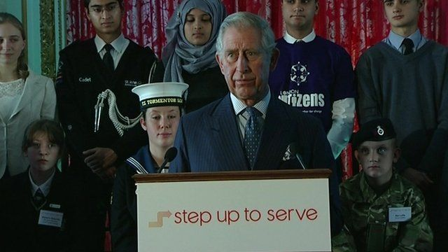Prince Charles speaking at the step up to serve campaign