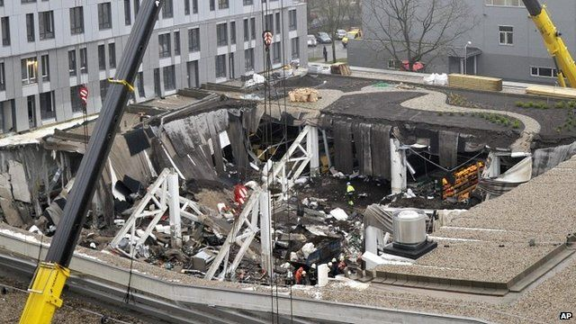 The collapsed roof