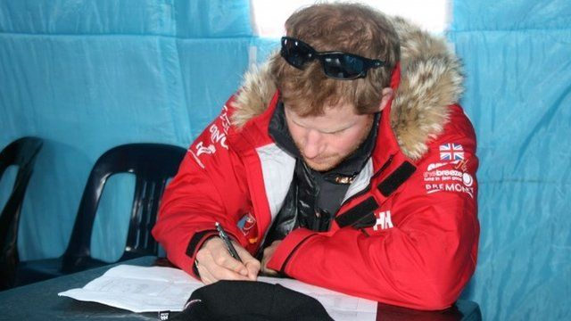 Undated handout photo issued by Walking with the Wounded (WWTW) of Prince Harry, partron of Team UK in the Virgin Money South Pole Allied Challenge 2013 expedition