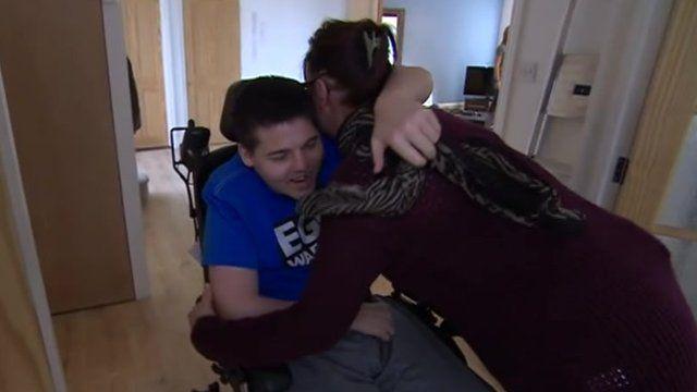 James Sedge hugs his mother Yolanda Skinner