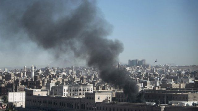 Smoke rises from the Defence Ministrys compound after an attack, in Sanaa