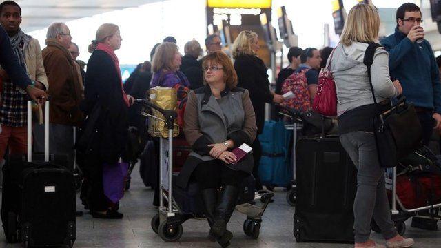 Delayed passengers at Heathrow