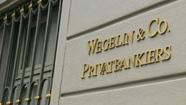 A sign reading 'Wegelin and Co Privatbankiers' on the side of a building