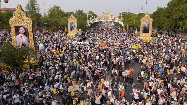 Drone aerial view of Thai demos
