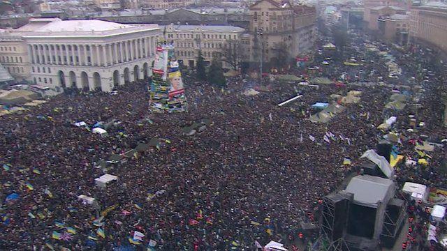 Independence Square in Kiev full of protestors