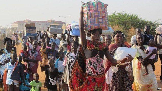 Civilians fleeing fighting arrive at UN compound next to Juba International Airport, 17 December 2013, UN handout pic