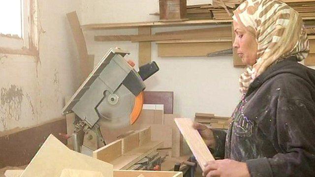 Jordan's first professional female carpenter Aida Al Qurna in her workshop