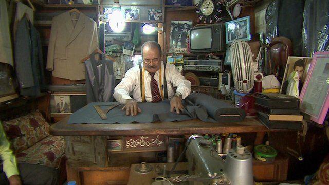 Abbas al Azzawi in his shop