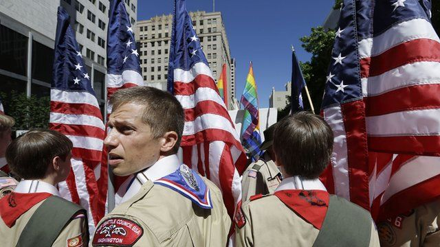 Scouts participating in a Gay Pride Parade in Seattle, USA